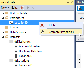 report parameter properties
